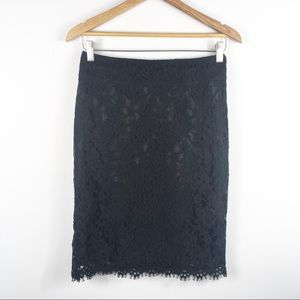Banana Republic Black Lace Overlay Skirt Size 2
